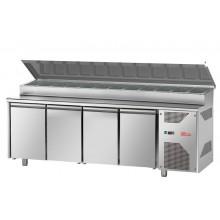 Table de préparation réfrigérée 4 portes profondeur 700 GN 1/1, équipement froid, Espace Hotelier Beziers